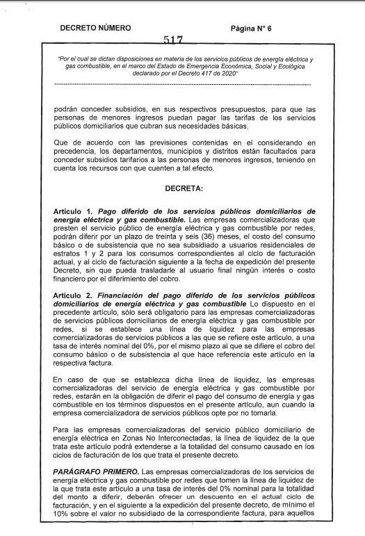 DECRETO DEL MINISTERIO DE MINAS