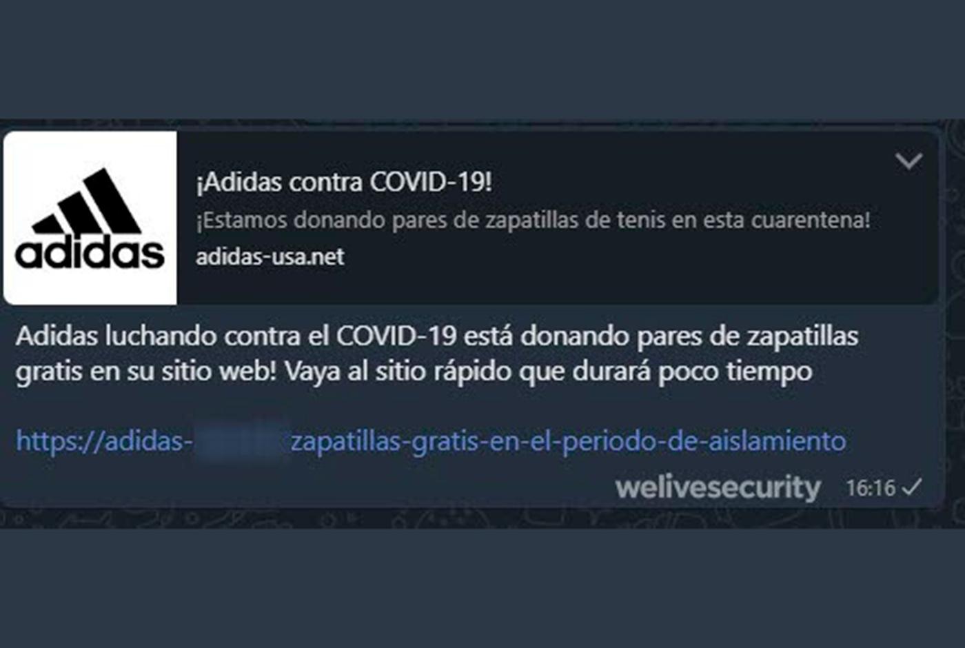Mensaje falso de WhatApp