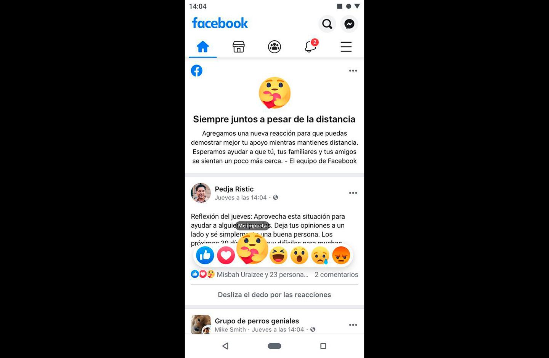 reacción 'me importa' en Facebook