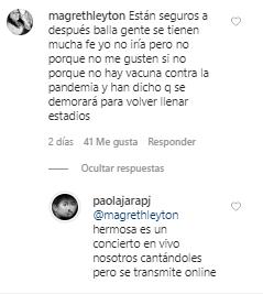 Captura del Instagram de Paola Jara