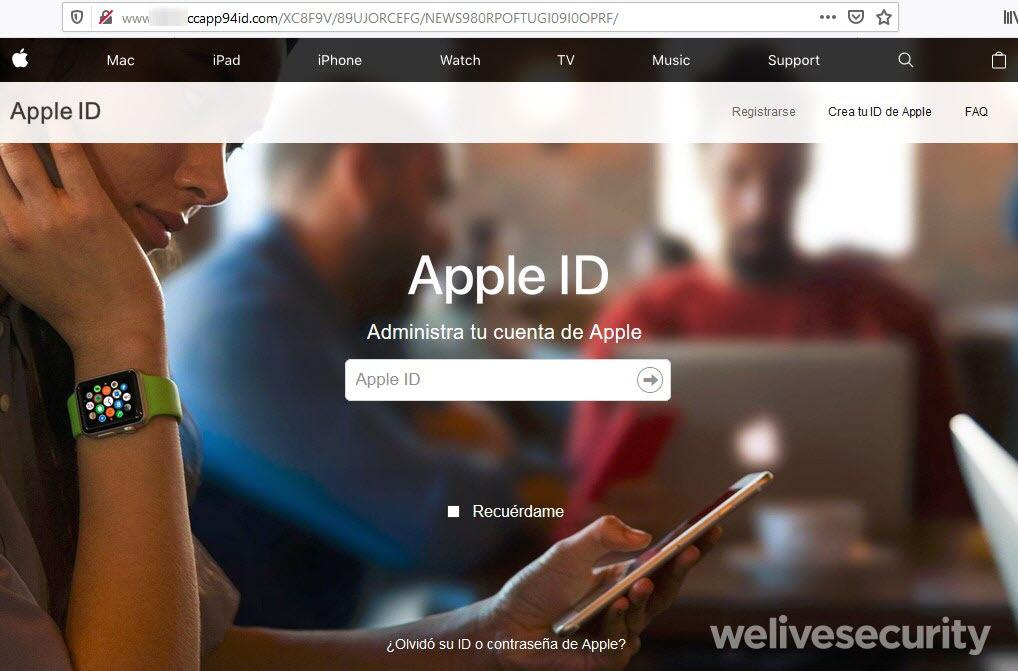 portal falso de Apple