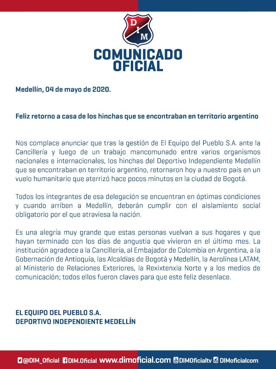 Comunicado oficial Independiente Medellín, 4 de mayo de 2020