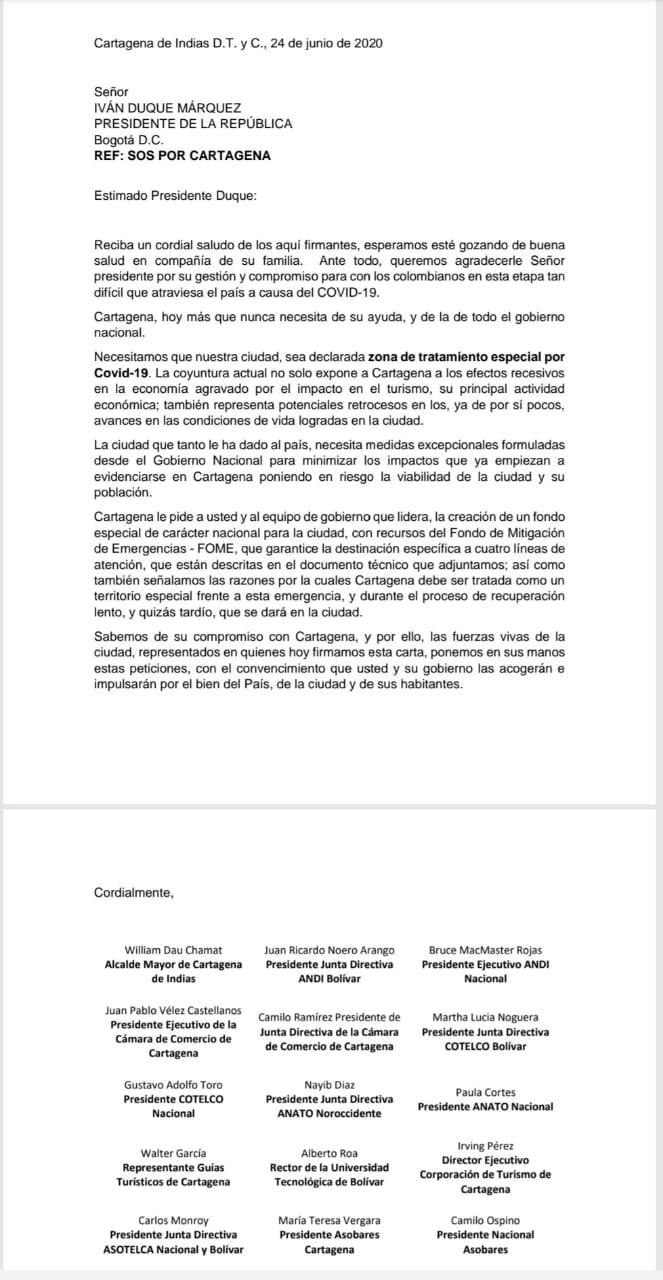 carta a duque de Cartagena