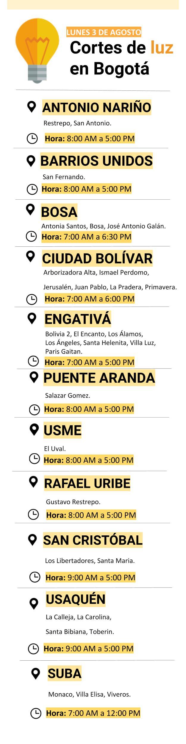 Cortes de luz en Bogotá para el 3 de agosto