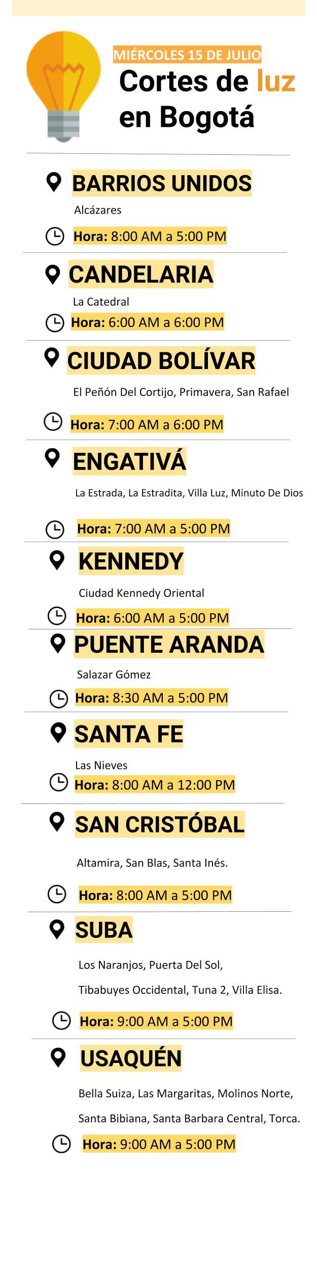 Cortes de luz en Bogotá para el miércoles 15 de julio