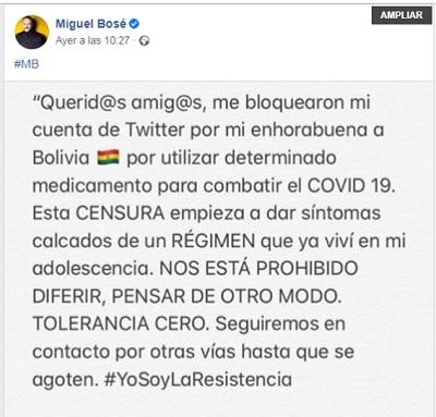 Miguel Bosé facebook