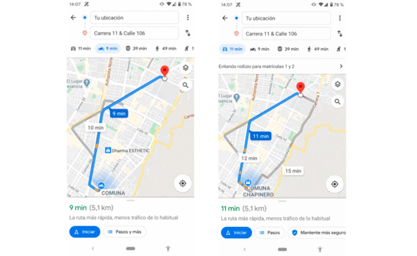 modo moto de Google Maps