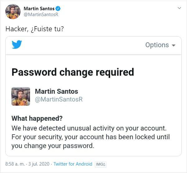 Tuit de Martín Santos