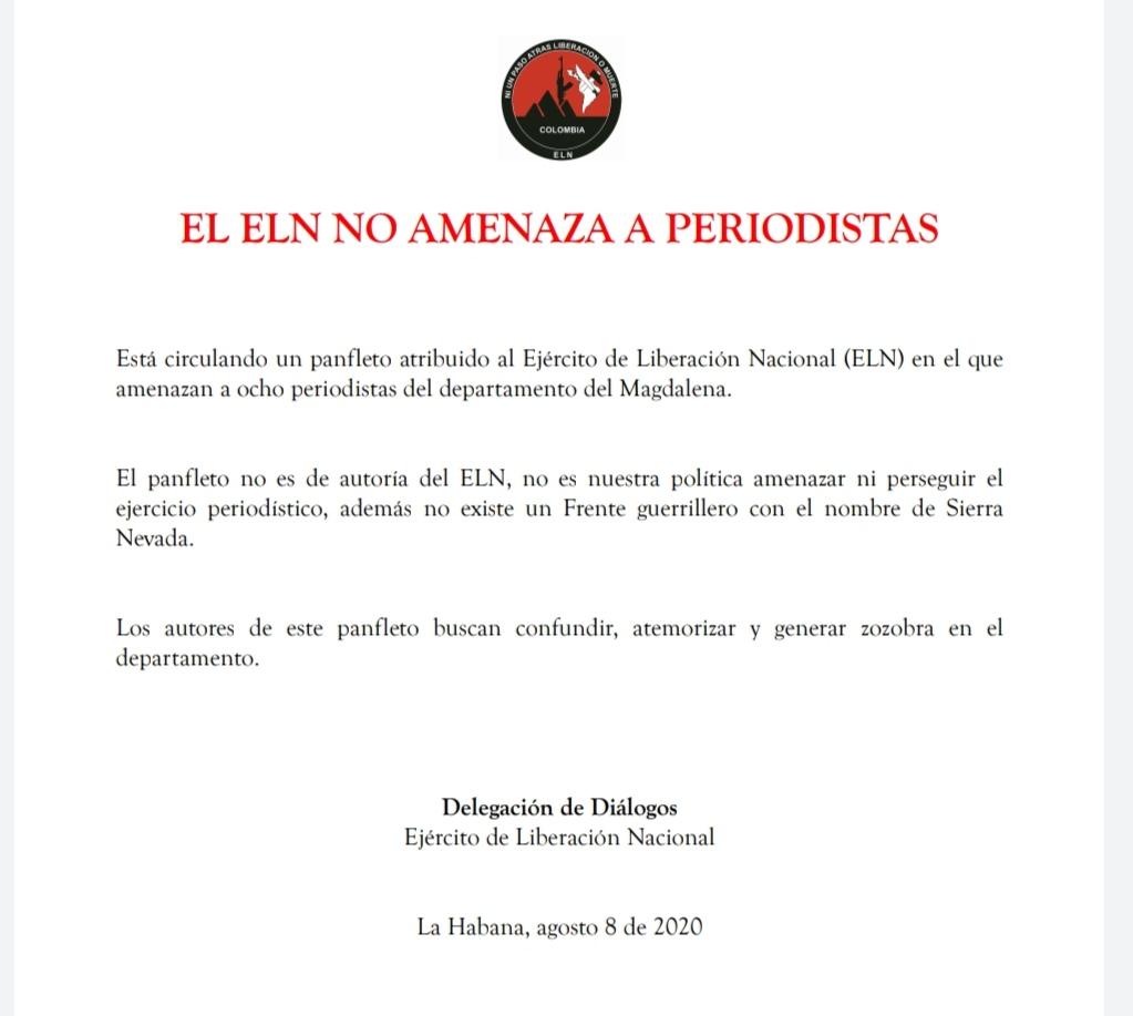 el ELN desde Cuba asegura que no amenaza a periodistas