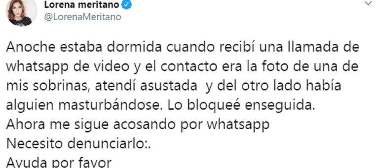 Captura del Twitter de Lorena Meritano