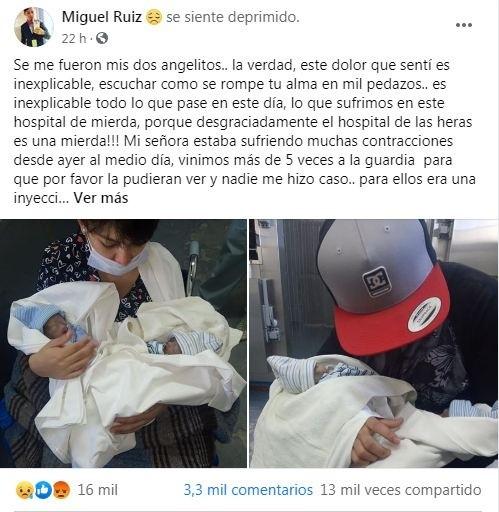 Miguel Ruiz y los gemelos fallecidos