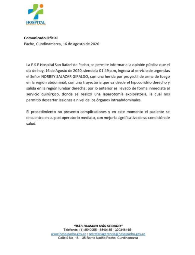 COMUNICADO DEL HOSPITAL DE PACHO
