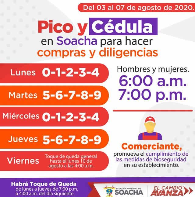 Pico y cédula en Soacha para esta semana