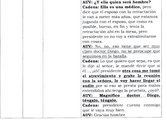 Conversación Uribe y abogado Cadena