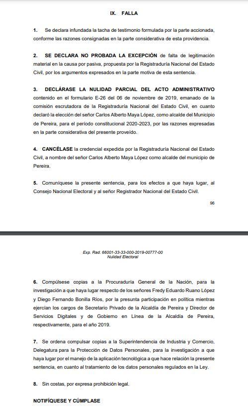 TUMBAN ELECCIÓN DEL ALCALDE DE PEREIRA