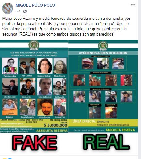 Fotografía de Miguel Polo Polo sobre falso cartel de Policía Nacional