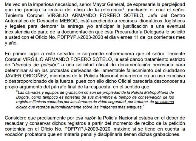 Oficio de la Procuraduría frente a primera respuesta de la Policía por las marchas del 9 y 19 de septiembre 2020
