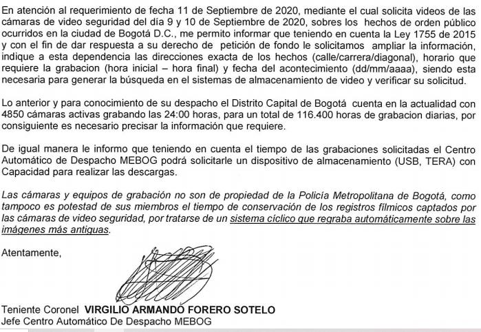 Respuesta de la Policía a la Procuraduría sobre marchas en septiembre 2020