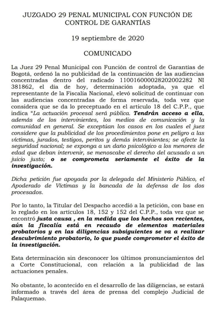 JUEZ 29 DE CONTROL DE GARANTÍAS