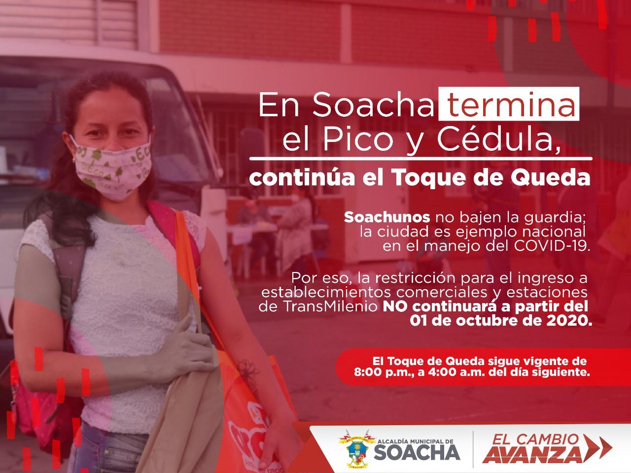 Pico y Cédula se termina en Soacha, pero sigue vigente el toque de queda