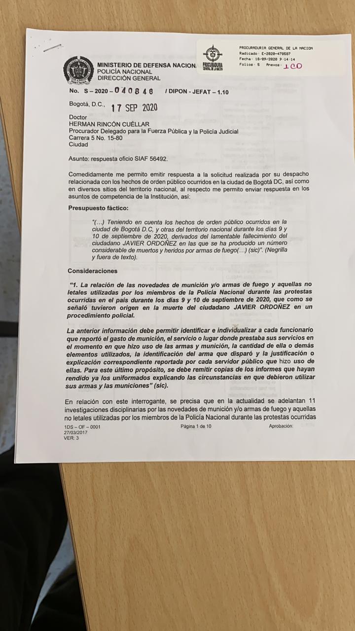Pantallazo de carta de la Policía enviada a la Procuraduría.