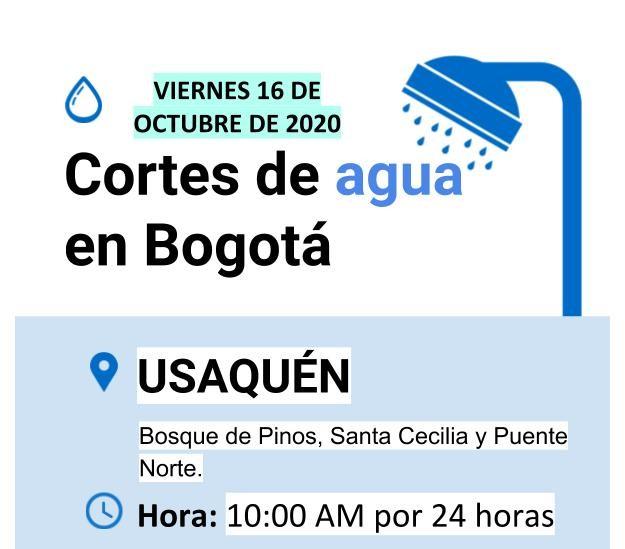 Cortes de agua en Bogotá - 16 de octubre