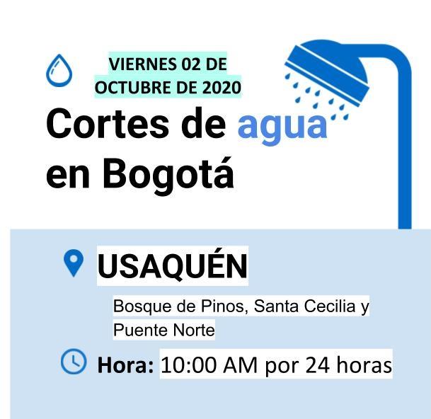 Cortes de agua en Bogotá para el viernes 02 de octubre