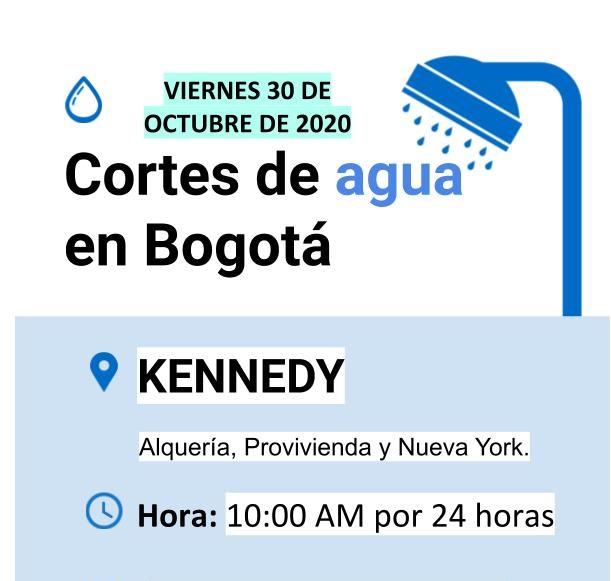 Cortes de agua para el viernes 30 de octubre