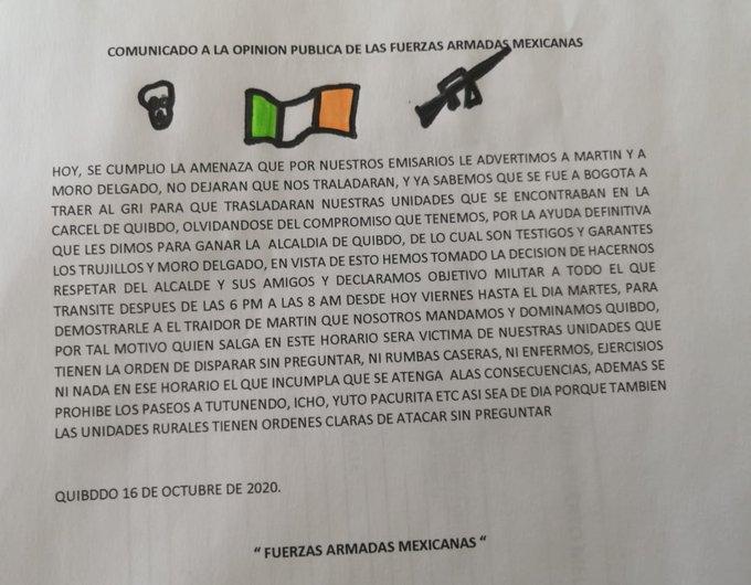 Panfleto que circula por las calles de Quibdó en Chocó.