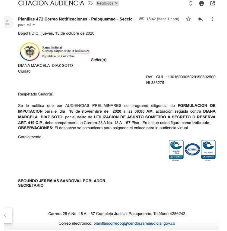 IMPUTACIÓN DE CARGOS