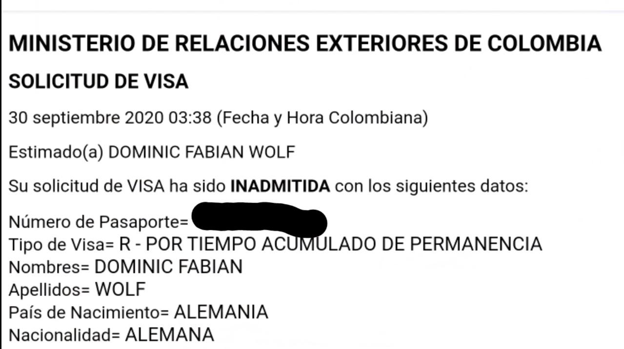Le negaron la visa a Dominic Colombia