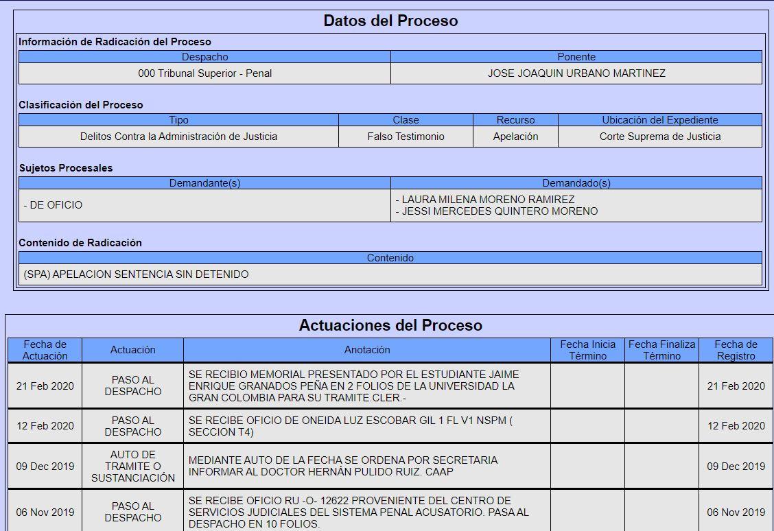 CASO COLMENARES: TRIBUNAL SUPERIOR DE BOGOTÁ