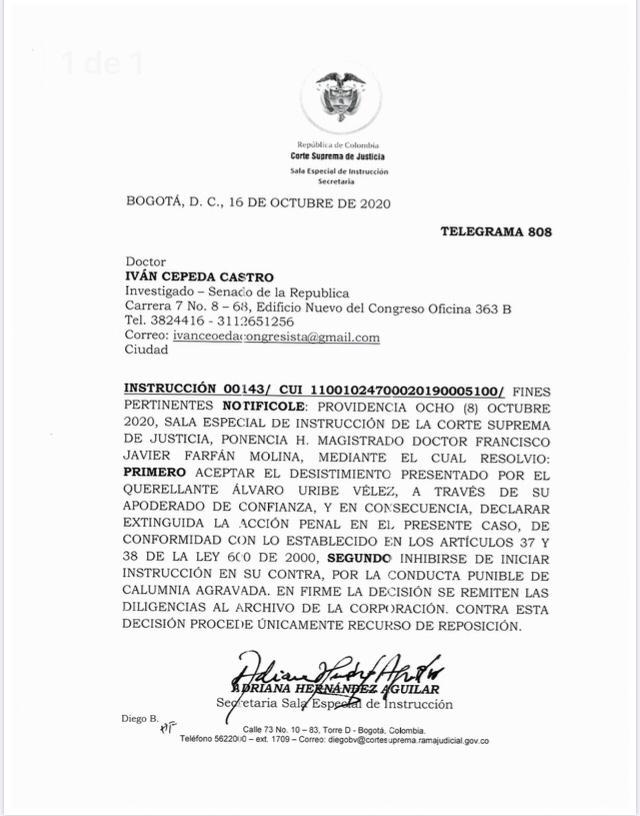 Alvaro Uribe desiste de denuncia contra Iván Cepeda