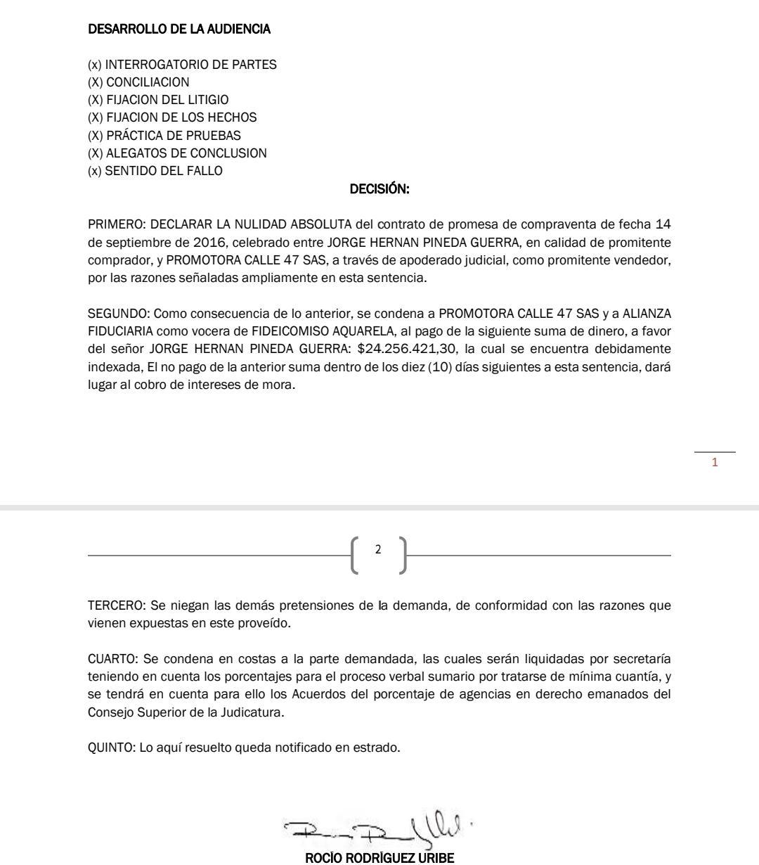 Juzgado de Cartagena ordena a Aquarela devolver cuota inicial a comprador de uno de los apartamentos