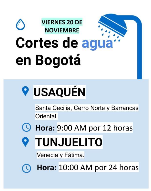 Cortes de agua para el 20 de noviembre en Bogotá