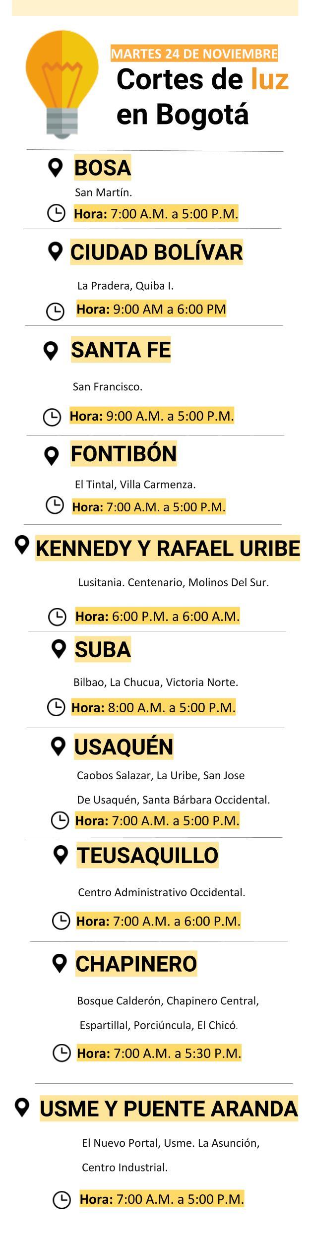 Cortes de luz en Bogotá para el martes 24 de noviembre