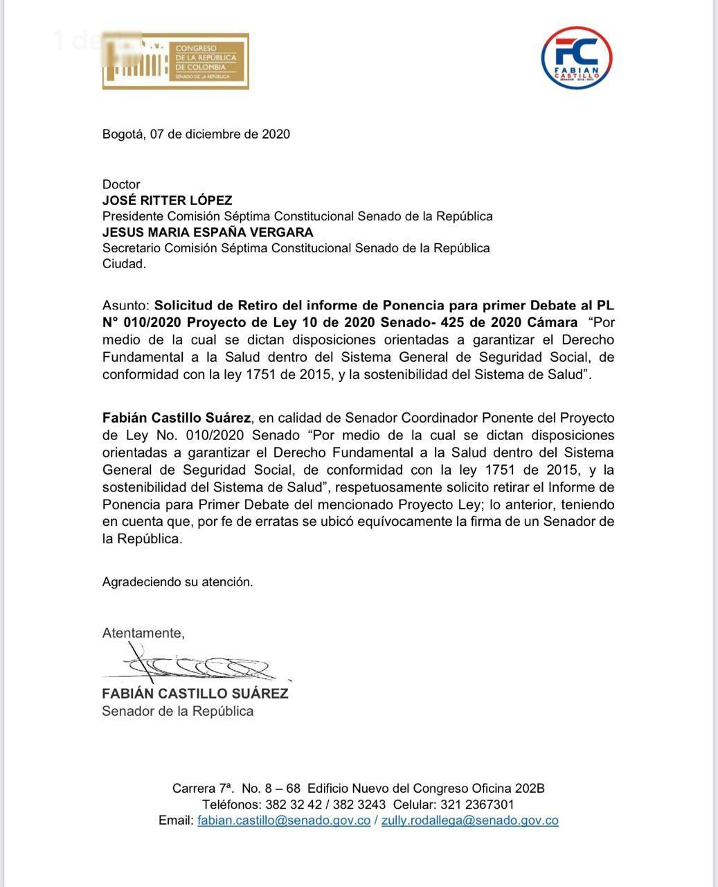 Carta retiro ponencia reforma a la salud