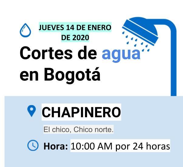 Cortes de agua en Bogotá para el jueves 14 de enero de 2021