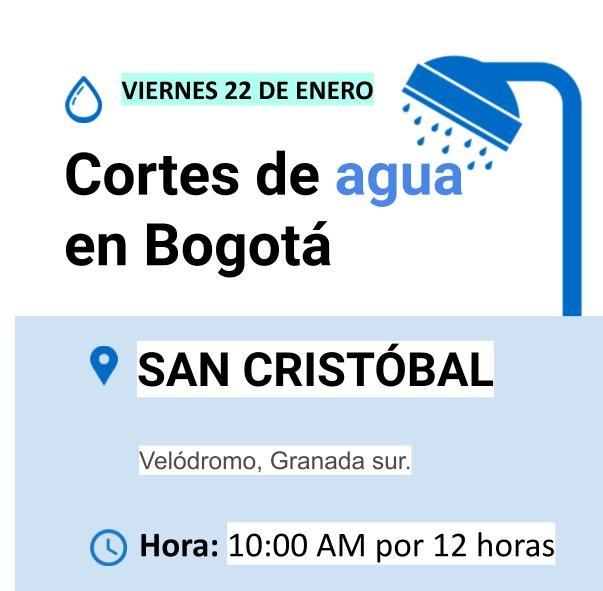 Cortes de agua para el viernes 22 de enero