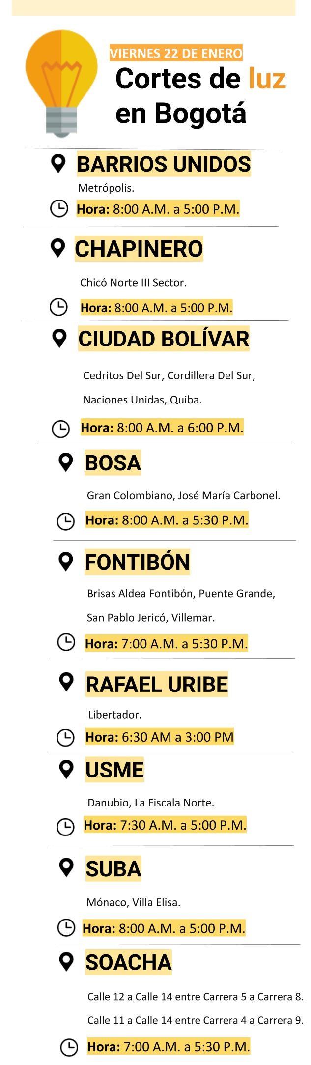 Cortes de luz el viernes 22 de enero en Bogotá