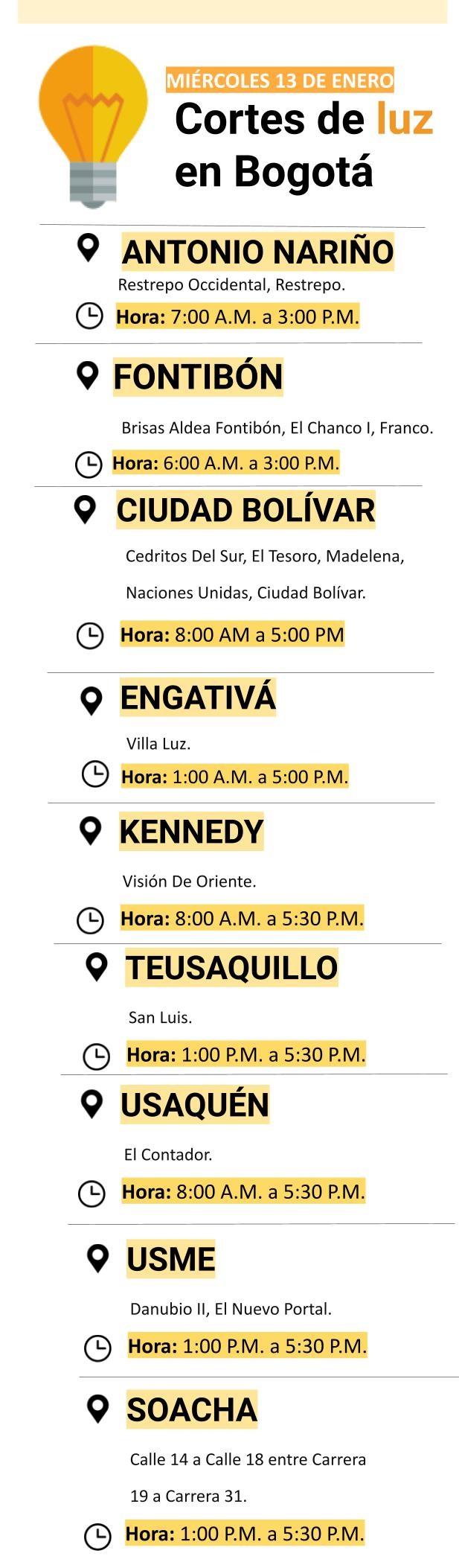 Cortes de luz en Bogotá para el miércoles 13 de agosto