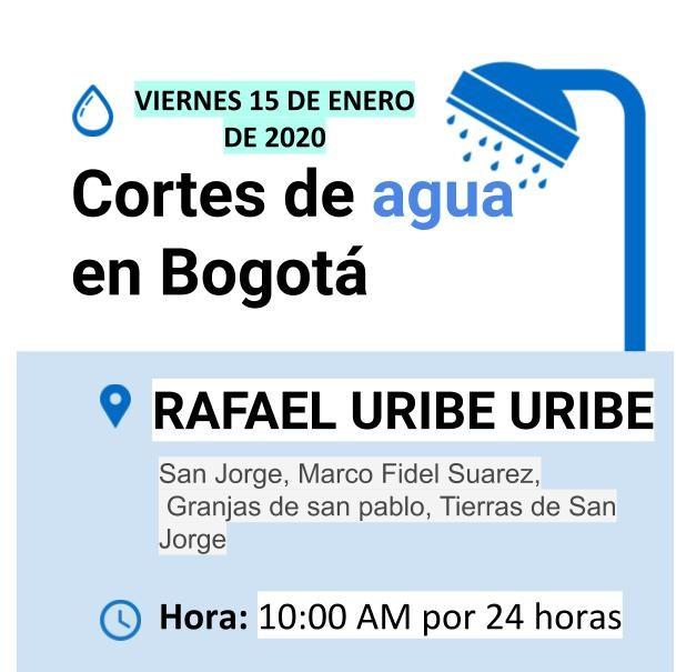 Cortes de luz para el 15 de enero en Bogotá