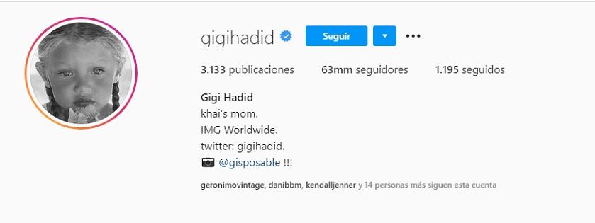 Gigi Hadid, perfil en Instagram
