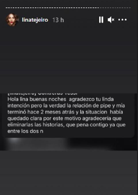 Lina Tejeiro post en Instagram