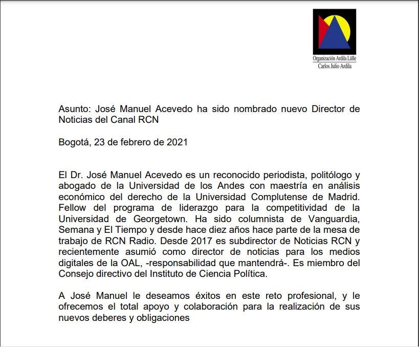 Comunicado Jose Manuel Acevedo