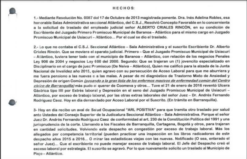 Consejo Superior de la Judicatura del Atlántico no accedió a trasladarlo del juzgado de Usiacurí