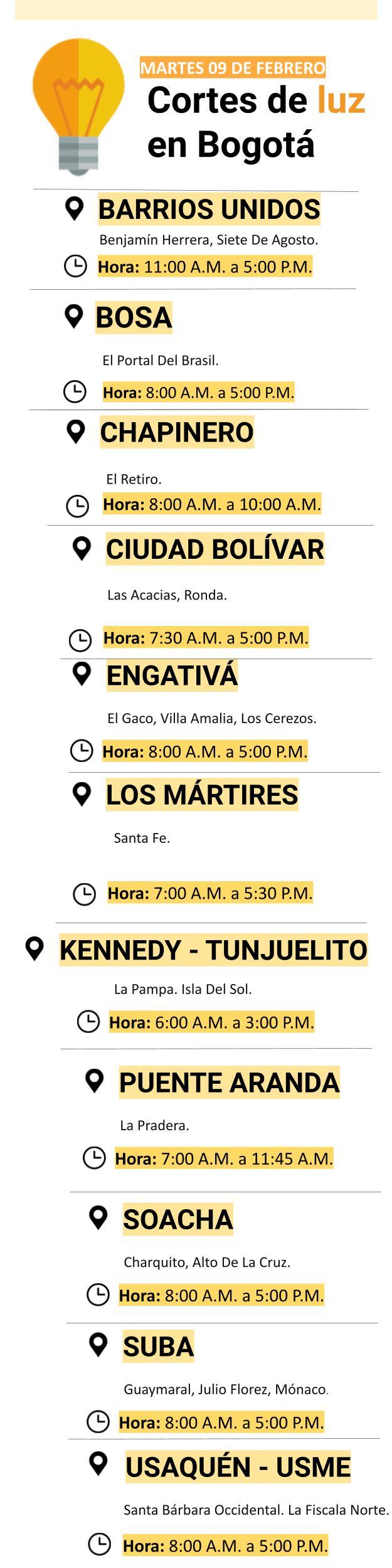 Cortes de luz para el martes 09 de febrero en Bogotá