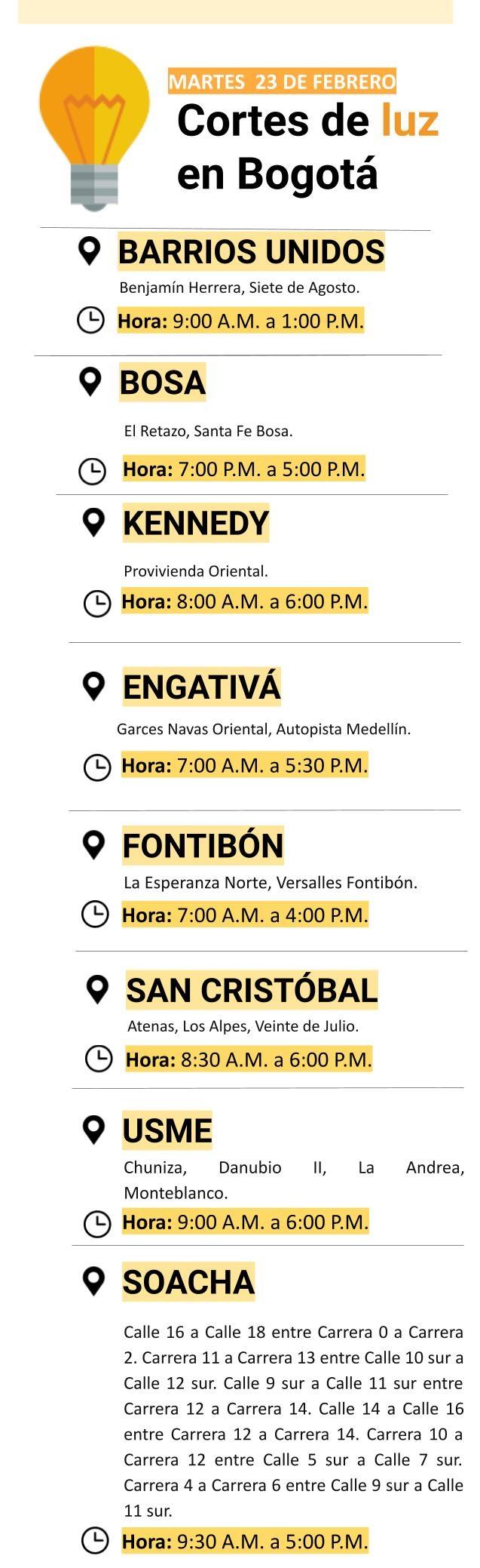 Cortes de luz para el martes 23 de febrero en Bogotá
