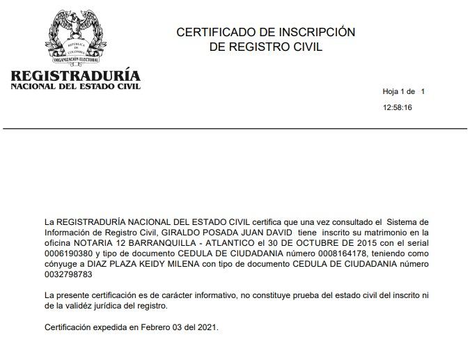 Registraduría certificó que Keidy Milena Díaz es esposa de Juan David Giraldo
