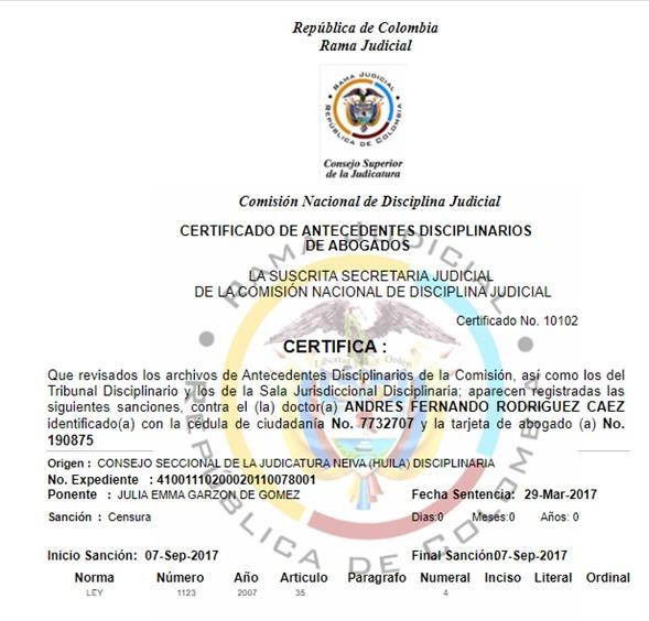 Sanción de censura del Consejo Superior de la Judicatura a Andrés Rodríguez Cáez